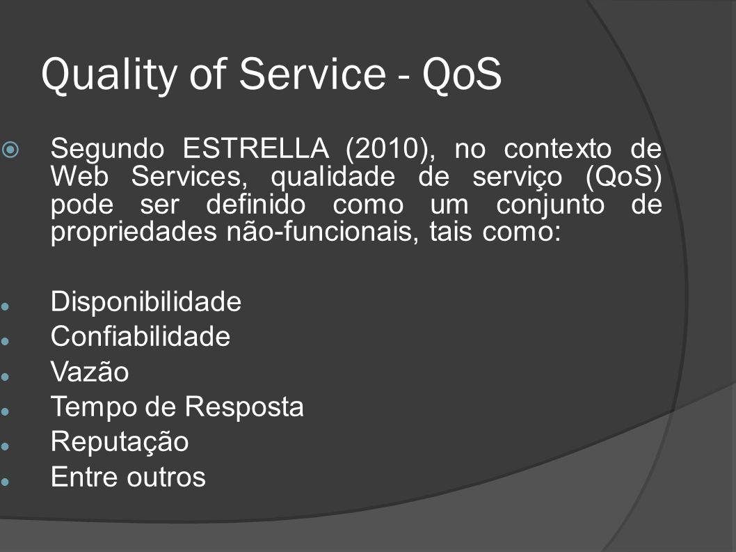 Quality of Service - QoS Segundo ESTRELLA (2010), no contexto de Web Services, qualidade de serviço (QoS) pode ser definido como um conjunto de propri
