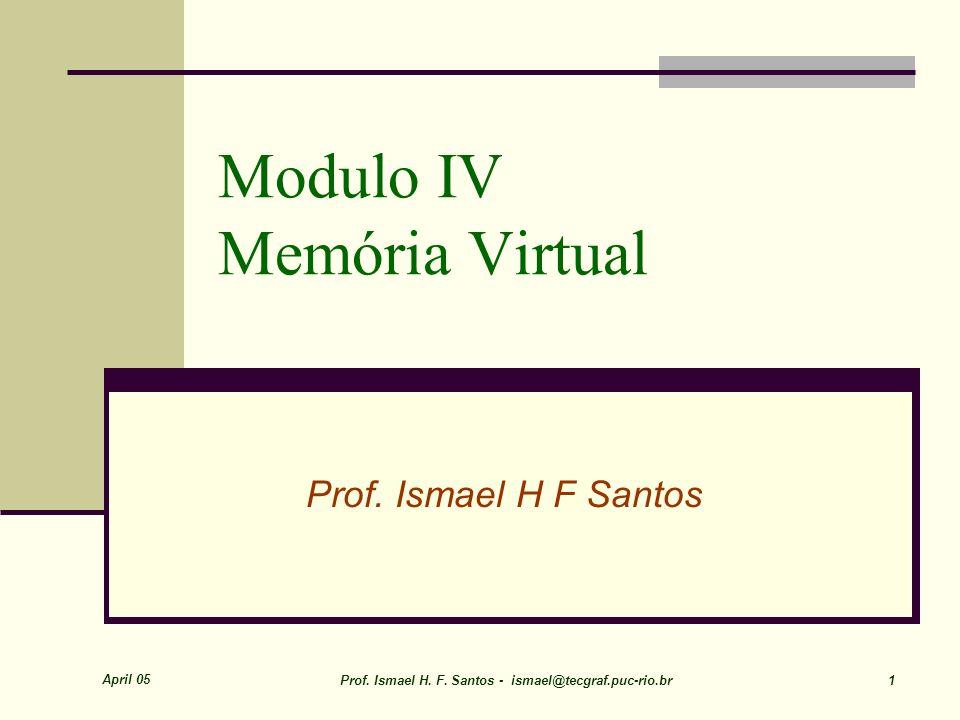 April 05 Prof.Ismael H. F. Santos - ismael@tecgraf.puc-rio.br 1 Modulo IV Memória Virtual Prof.