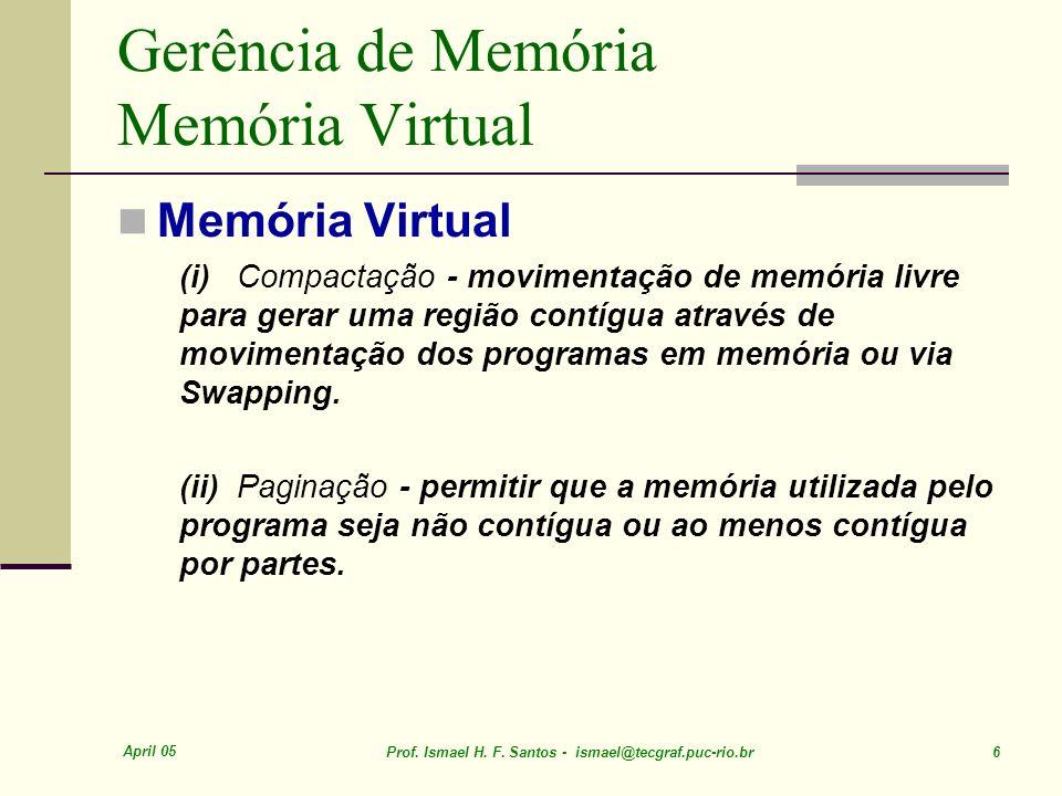 April 05 Prof. Ismael H. F. Santos - ismael@tecgraf.puc-rio.br 6 Gerência de Memória Memória Virtual Memória Virtual (i) Compactação - movimentação de