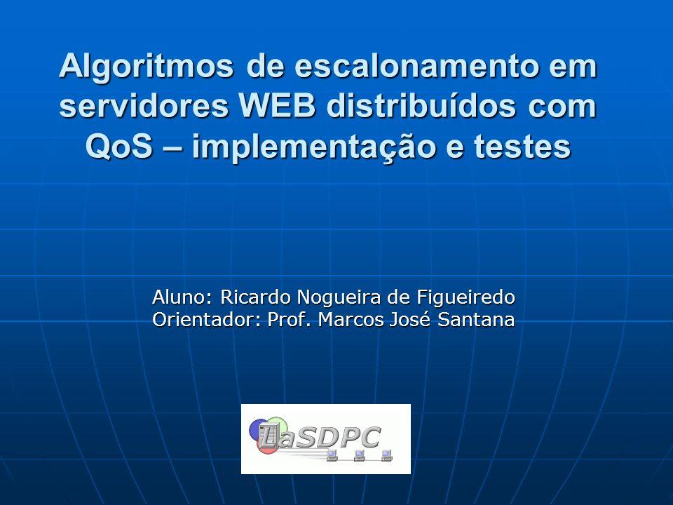 Aluno: Ricardo Nogueira de Figueiredo Orientador: Prof. Marcos José Santana Algoritmos de escalonamento em servidores WEB distribuídos com QoS – imple
