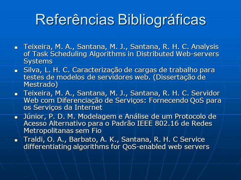 Referências Bibliográficas Teixeira, M. A., Santana, M. J., Santana, R. H. C. Analysis of Task Scheduling Algorithms in Distributed Web-servers System