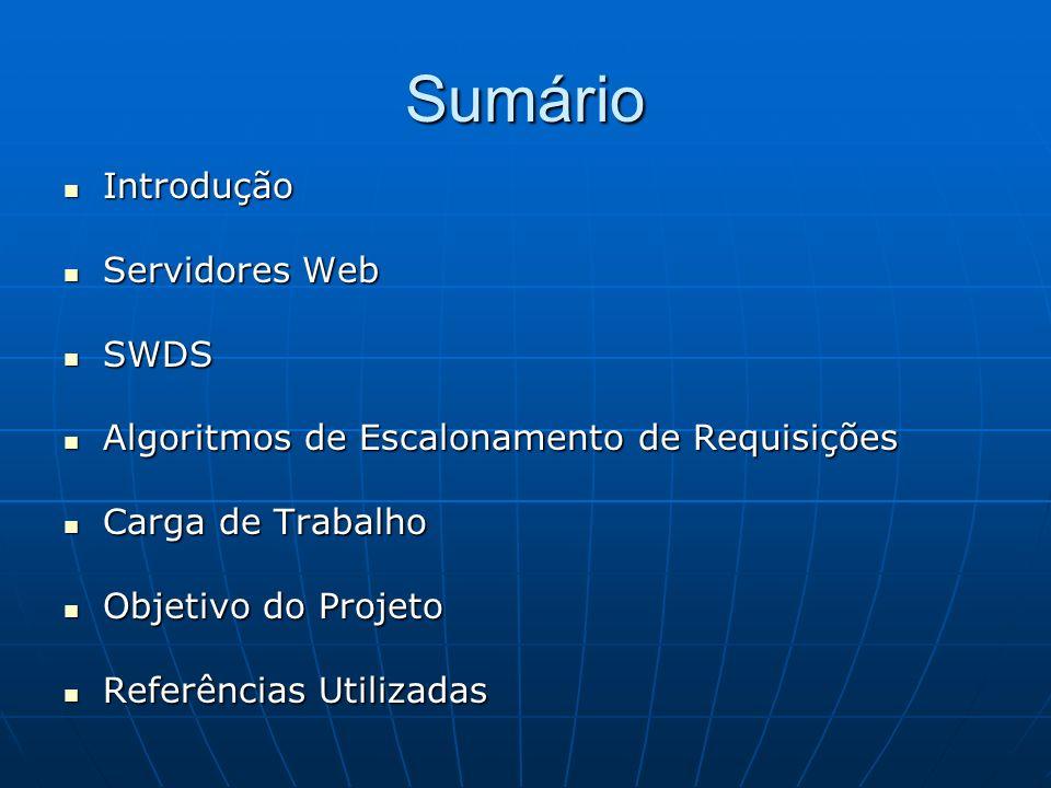 Sumário Introdução Introdução Servidores Web Servidores Web SWDS SWDS Algoritmos de Escalonamento de Requisições Algoritmos de Escalonamento de Requis