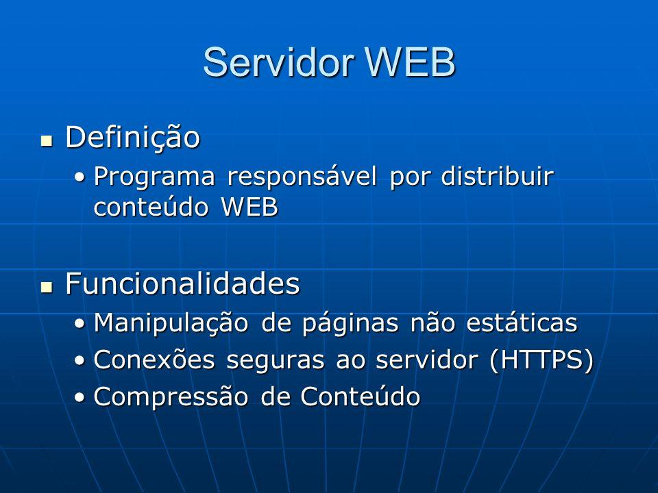 Servidor WEB Definição Definição Programa responsável por distribuir conteúdo WEBPrograma responsável por distribuir conteúdo WEB Funcionalidades Func