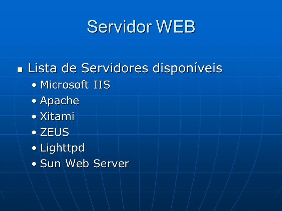 Servidor WEB Lista de Servidores disponíveis Lista de Servidores disponíveis Microsoft IISMicrosoft IIS ApacheApache XitamiXitami ZEUSZEUS LighttpdLig