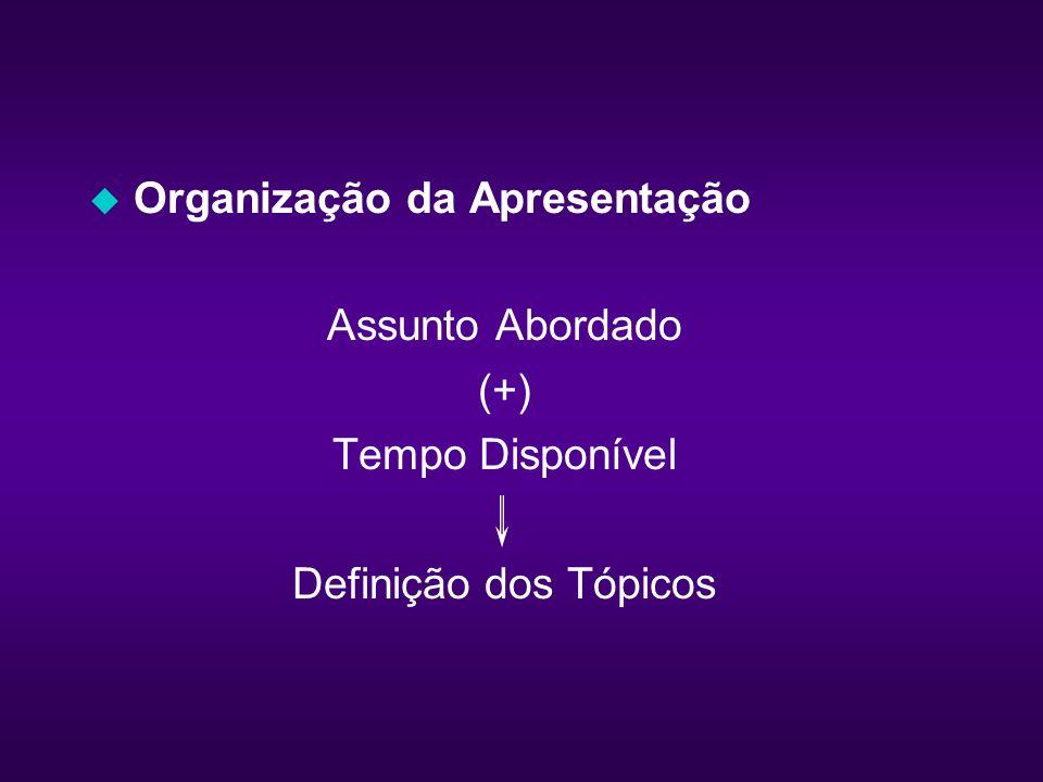u Organização da Apresentação Assunto Abordado (+) Tempo Disponível Definição dos Tópicos