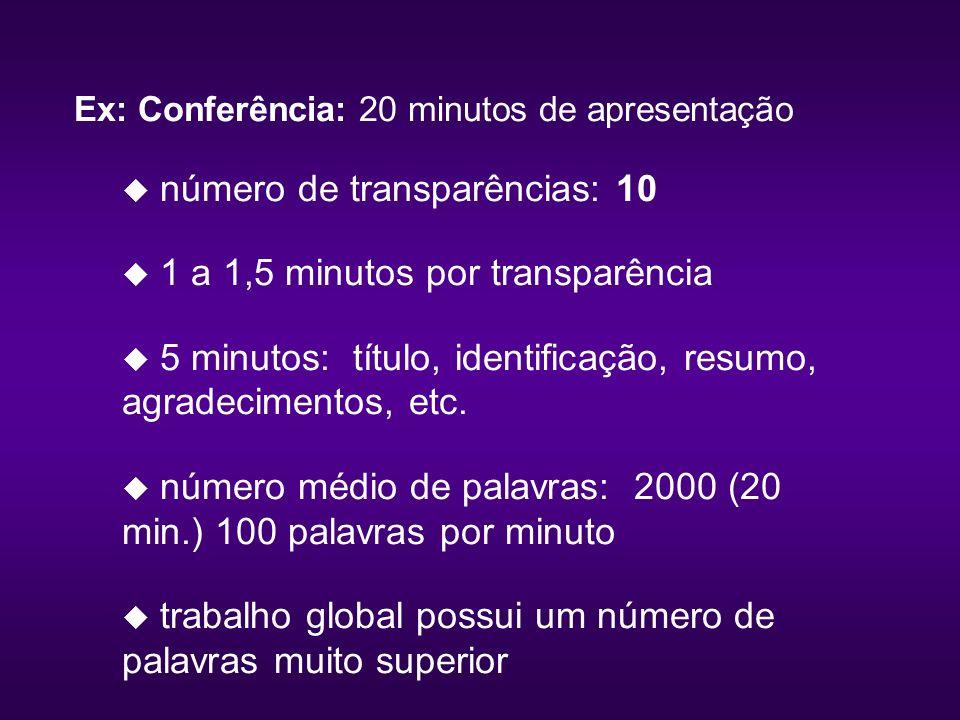Ex: Conferência: 20 minutos de apresentação u número de transparências: 10 u 1 a 1,5 minutos por transparência u 5 minutos: título, identificação, resumo, agradecimentos, etc.
