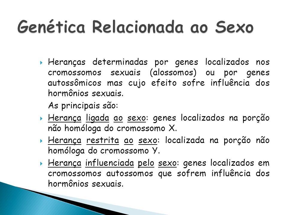 Heranças determinadas por genes localizados nos cromossomos sexuais (alossomos) ou por genes autossômicos mas cujo efeito sofre influência dos hormôni