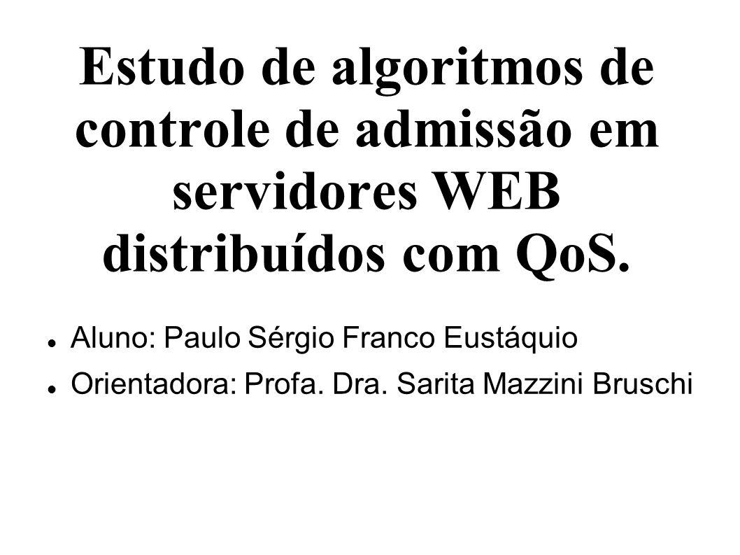 Estudo de algoritmos de controle de admissão em servidores WEB distribuídos com QoS. Aluno: Paulo Sérgio Franco Eustáquio Orientadora: Profa. Dra. Sar