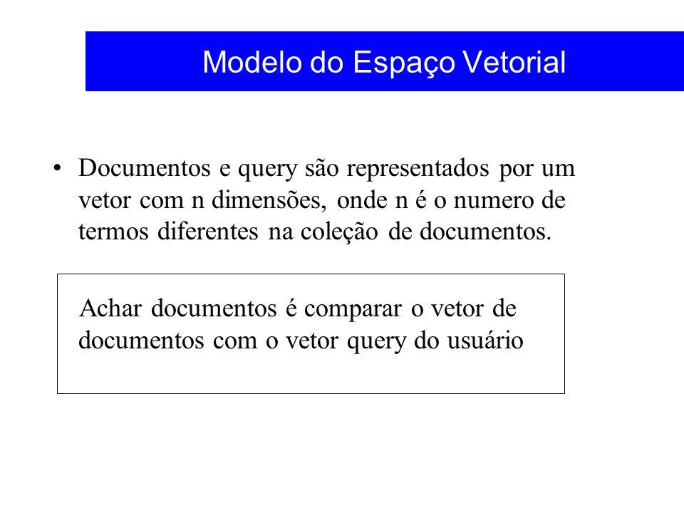 Modelo do Espaço Vetorial Documentos e query são representados por um vetor com n dimensões, onde n é o numero de termos diferentes na coleção de docu