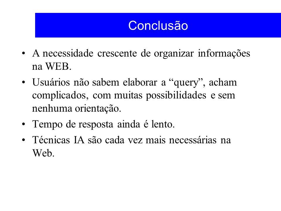 Conclusão A necessidade crescente de organizar informações na WEB. Usuários não sabem elaborar a query, acham complicados, com muitas possibilidades e