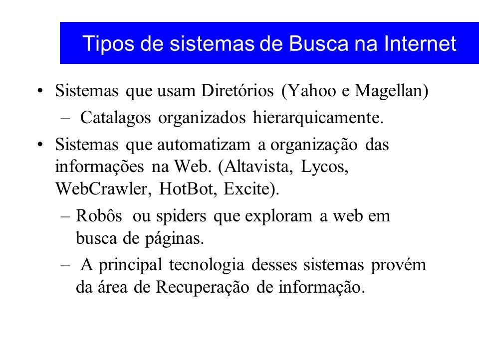 Tipos de sistemas de Busca na Internet Sistemas que usam Diretórios (Yahoo e Magellan) – Catalagos organizados hierarquicamente. Sistemas que automati