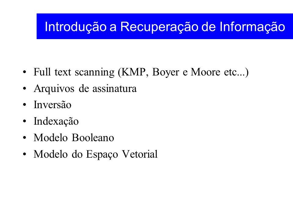 Introdução a Recuperação de Informação Full text scanning (KMP, Boyer e Moore etc...) Arquivos de assinatura Inversão Indexação Modelo Booleano Modelo