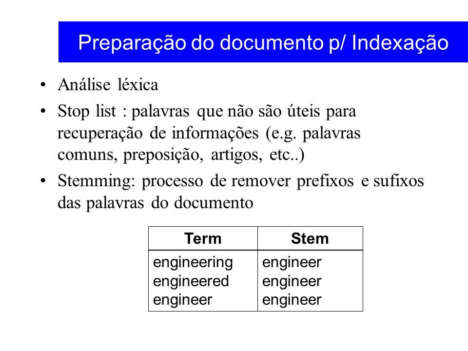 Preparação do documento p/ Indexação Análise léxica Stop list : palavras que não são úteis para recuperação de informações (e.g. palavras comuns, prep