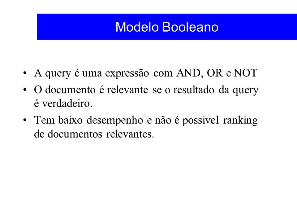 Modelo Booleano A query é uma expressão com AND, OR e NOT O documento é relevante se o resultado da query é verdadeiro. Tem baixo desempenho e não é p