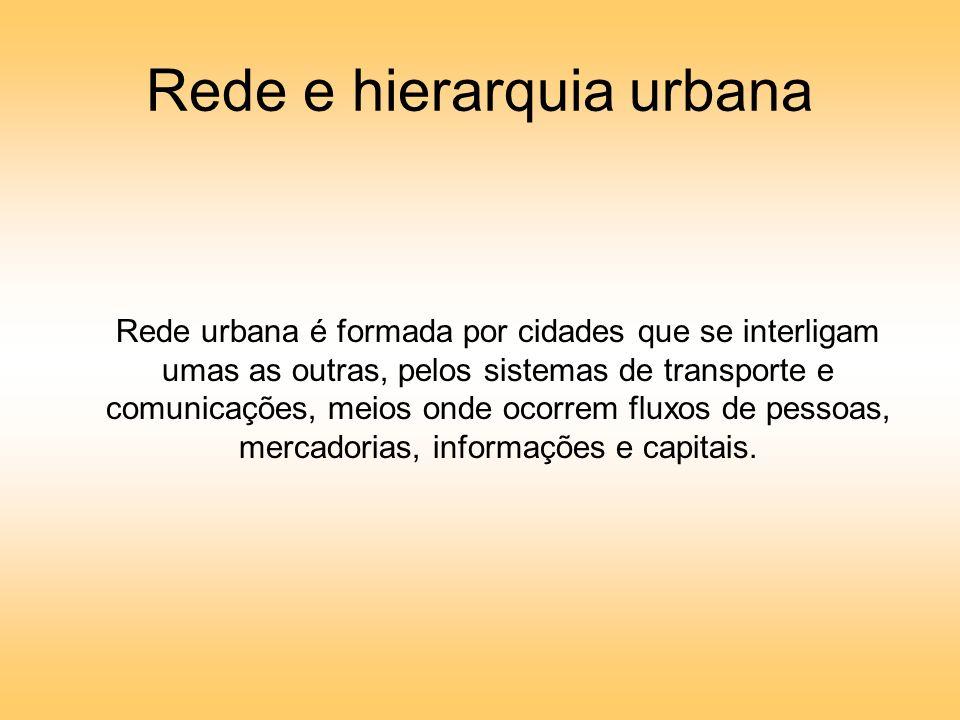 Rede e hierarquia urbana Rede urbana é formada por cidades que se interligam umas as outras, pelos sistemas de transporte e comunicações, meios onde ocorrem fluxos de pessoas, mercadorias, informações e capitais.