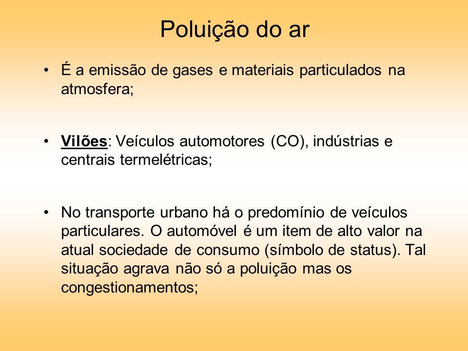 Poluição do ar É a emissão de gases e materiais particulados na atmosfera; Vilões: Veículos automotores (CO), indústrias e centrais termelétricas; No transporte urbano há o predomínio de veículos particulares.