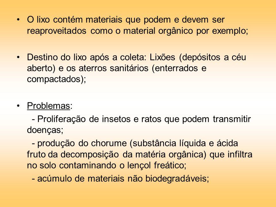 O lixo contém materiais que podem e devem ser reaproveitados como o material orgânico por exemplo; Destino do lixo após a coleta: Lixões (depósitos a céu aberto) e os aterros sanitários (enterrados e compactados); Problemas: - Proliferação de insetos e ratos que podem transmitir doenças; - produção do chorume (substância líquida e ácida fruto da decomposição da matéria orgânica) que infiltra no solo contaminando o lençol freático; - acúmulo de materiais não biodegradáveis;