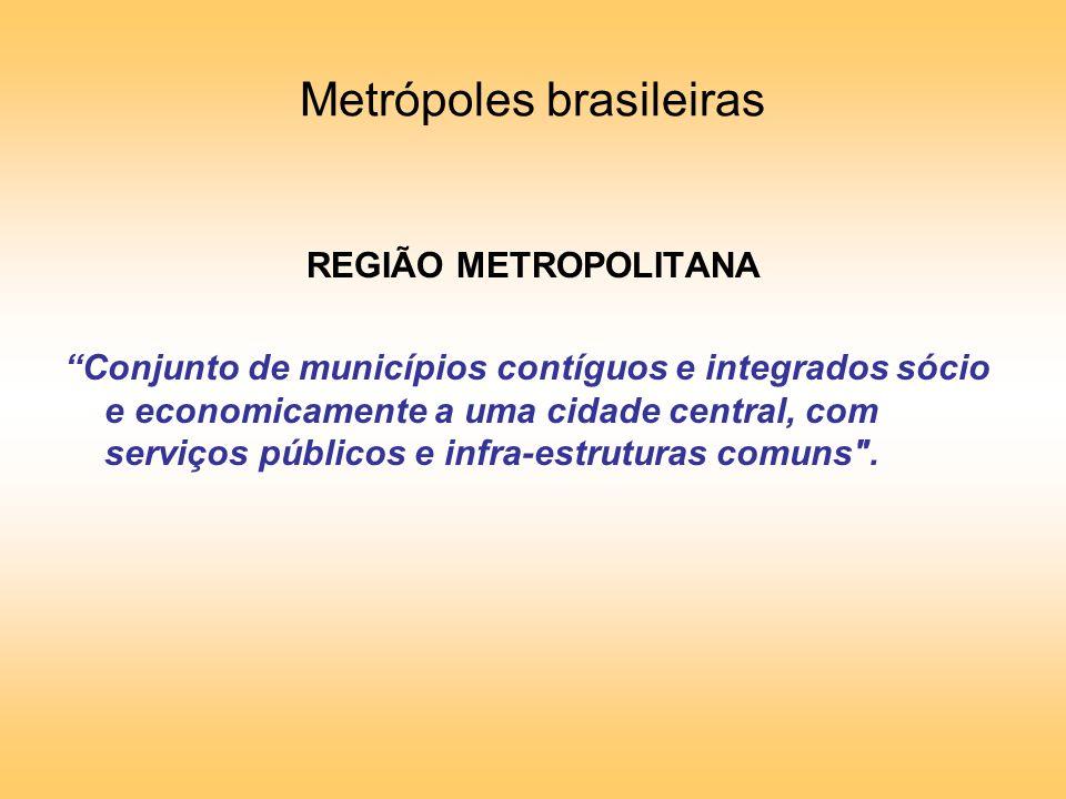 Metrópoles brasileiras REGIÃO METROPOLITANA Conjunto de municípios contíguos e integrados sócio e economicamente a uma cidade central, com serviços públicos e infra-estruturas comuns .