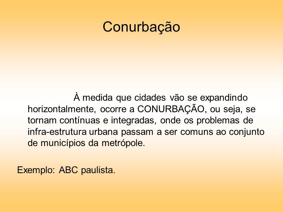 Conurbação À medida que cidades vão se expandindo horizontalmente, ocorre a CONURBAÇÃO, ou seja, se tornam contínuas e integradas, onde os problemas de infra-estrutura urbana passam a ser comuns ao conjunto de municípios da metrópole.