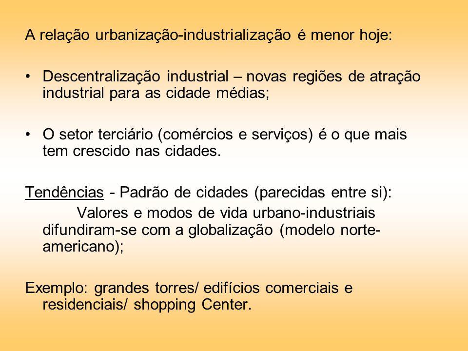 A relação urbanização-industrialização é menor hoje: Descentralização industrial – novas regiões de atração industrial para as cidade médias; O setor terciário (comércios e serviços) é o que mais tem crescido nas cidades.