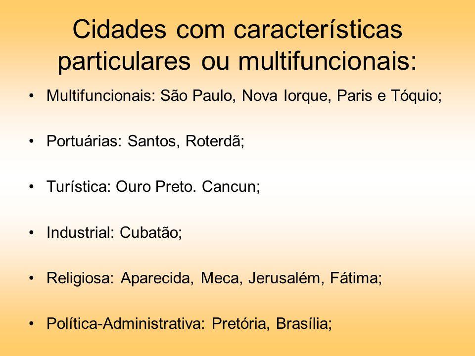 Cidades com características particulares ou multifuncionais: Multifuncionais: São Paulo, Nova Iorque, Paris e Tóquio; Portuárias: Santos, Roterdã; Turística: Ouro Preto.