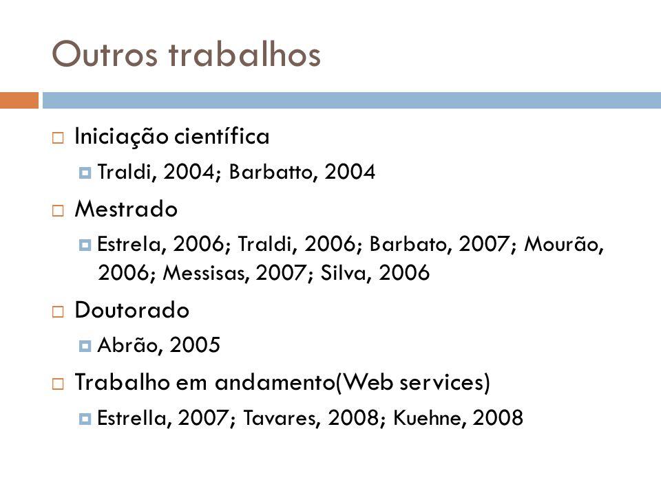 Outros trabalhos Iniciação científica Traldi, 2004; Barbatto, 2004 Mestrado Estrela, 2006; Traldi, 2006; Barbato, 2007; Mourão, 2006; Messisas, 2007; Silva, 2006 Doutorado Abrão, 2005 Trabalho em andamento(Web services) Estrella, 2007; Tavares, 2008; Kuehne, 2008