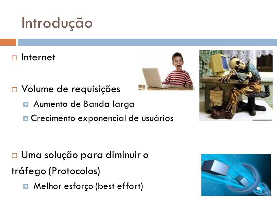 Introdução Internet Volume de requisições Aumento de Banda larga Crecimento exponencial de usuários Uma solução para diminuir o tráfego (Protocolos) Melhor esforço (best effort)