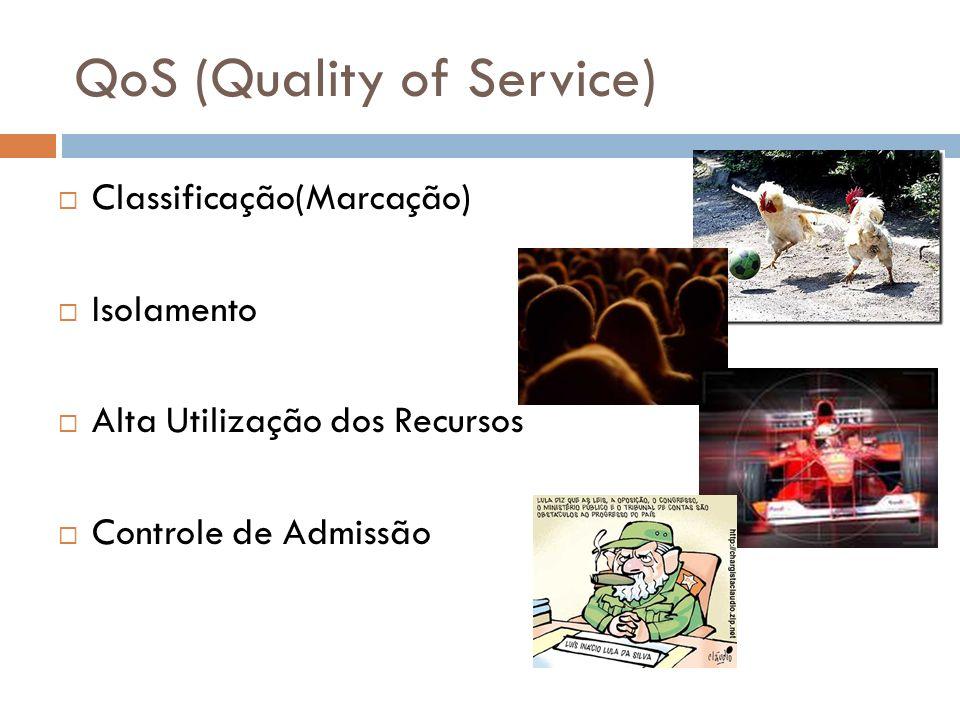 QoS (Quality of Service) Classificação(Marcação) Isolamento Alta Utilização dos Recursos Controle de Admissão