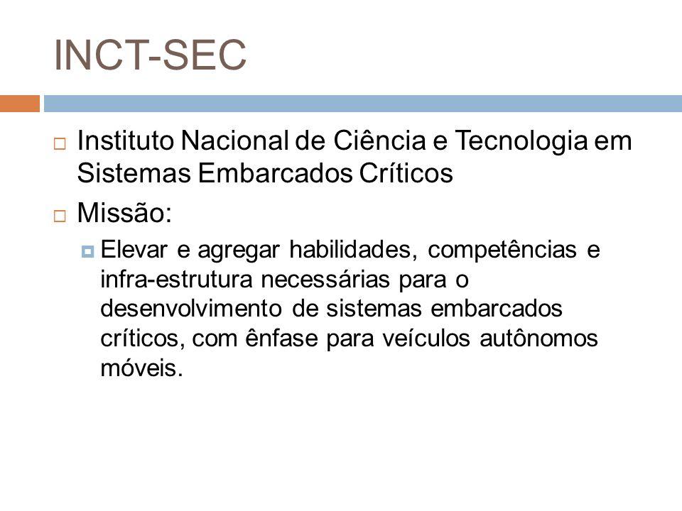 INCT-SEC Instituto Nacional de Ciência e Tecnologia em Sistemas Embarcados Críticos Missão: Elevar e agregar habilidades, competências e infra-estrutu