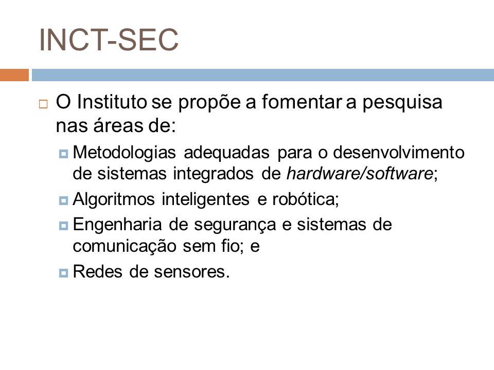 INCT-SEC O Instituto se propõe a fomentar a pesquisa nas áreas de: Metodologias adequadas para o desenvolvimento de sistemas integrados de hardware/so
