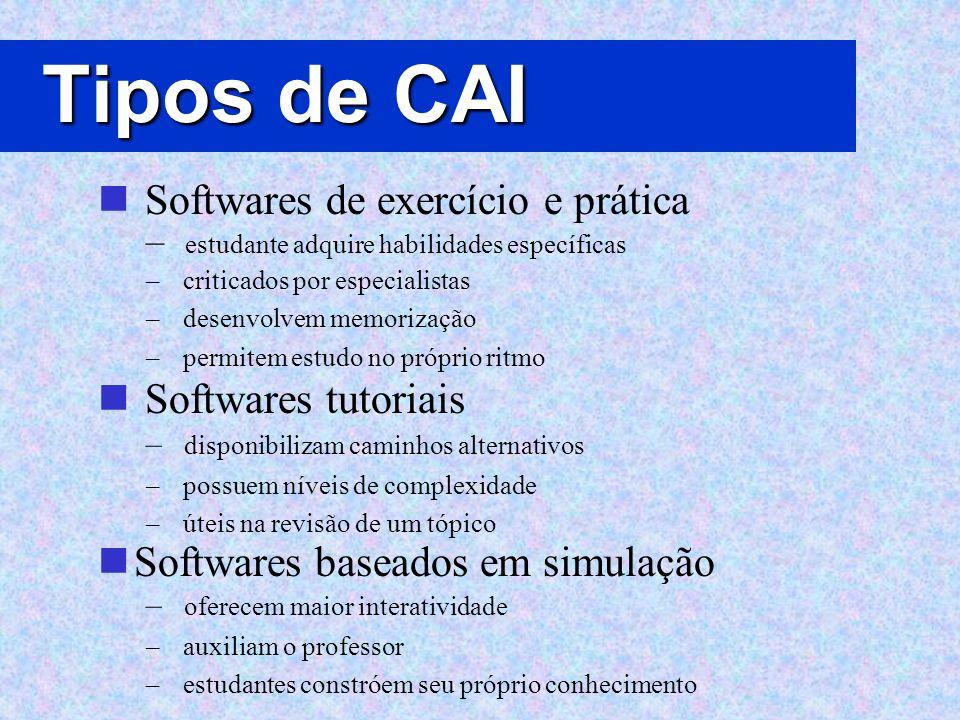 Tipos de CAI Softwares de exercício e prática – estudante adquire habilidades específicas – criticados por especialistas – desenvolvem memorização – p