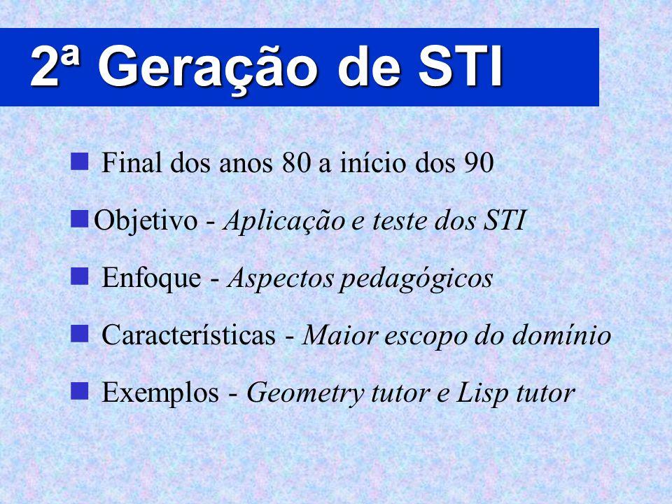 2ª Geração de STI Final dos anos 80 a início dos 90 Objetivo - Aplicação e teste dos STI Enfoque - Aspectos pedagógicos Características - Maior escopo