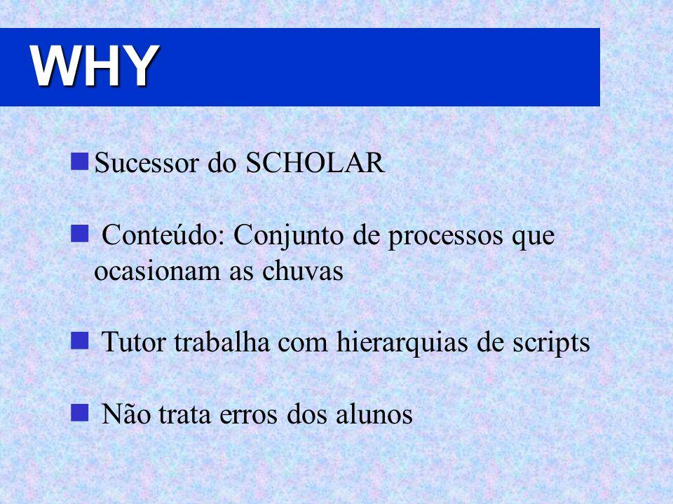 WHY Sucessor do SCHOLAR Conteúdo: Conjunto de processos que ocasionam as chuvas Tutor trabalha com hierarquias de scripts Não trata erros dos alunos