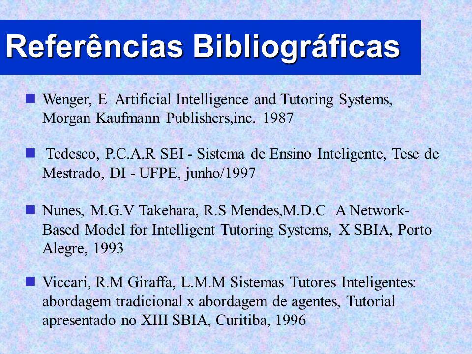 Referências Bibliográficas Wenger, E Artificial Intelligence and Tutoring Systems, Morgan Kaufmann Publishers,inc. 1987 Tedesco, P.C.A.R SEI - Sistema