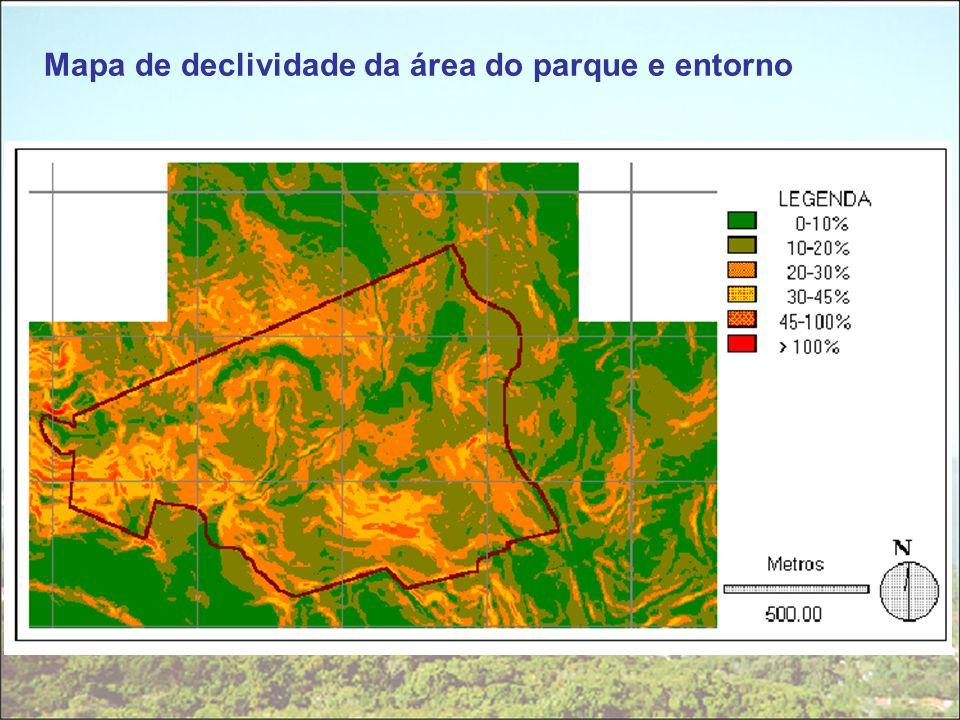 Mapa de declividade da área do parque e entorno