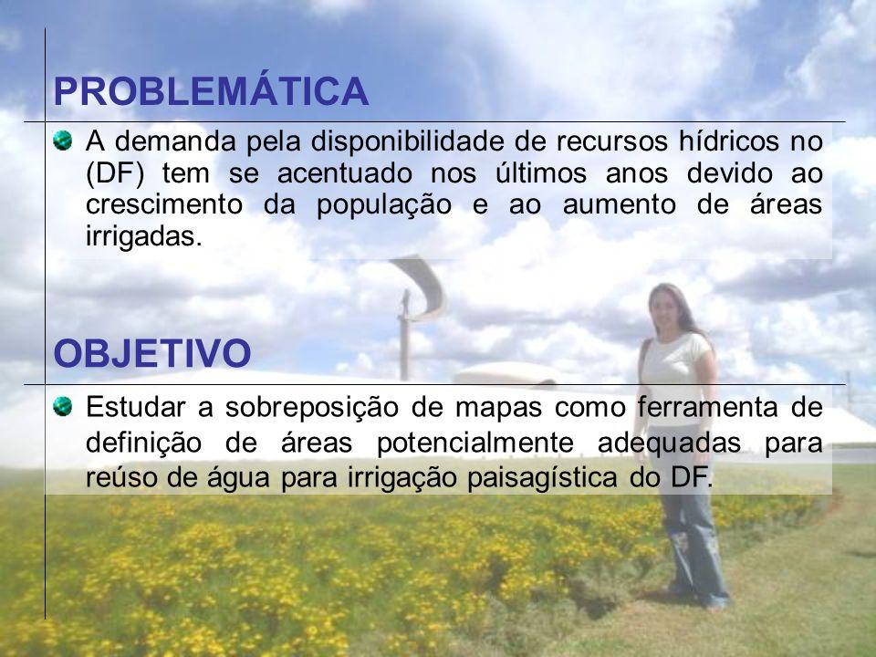 PROBLEMÁTICA A demanda pela disponibilidade de recursos hídricos no (DF) tem se acentuado nos últimos anos devido ao crescimento da população e ao aum