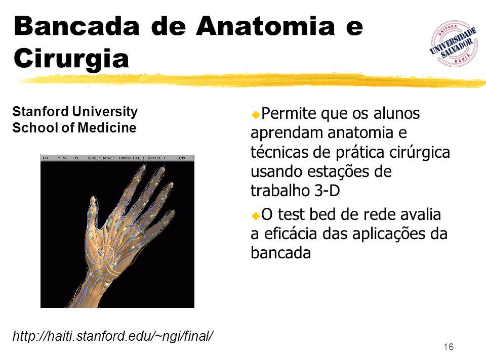16 Bancada de Anatomia e Cirurgia Permite que os alunos aprendam anatomia e técnicas de prática cirúrgica usando estações de trabalho 3-D O test bed d