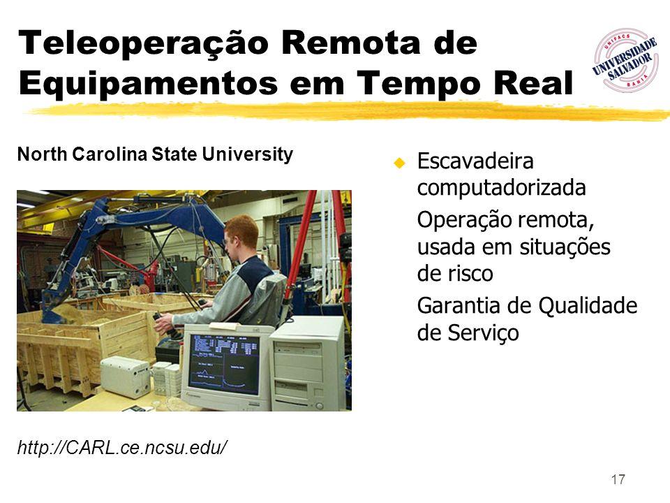 17 Teleoperação Remota de Equipamentos em Tempo Real Escavadeira computadorizada Operação remota, usada em situações de risco Garantia de Qualidade de