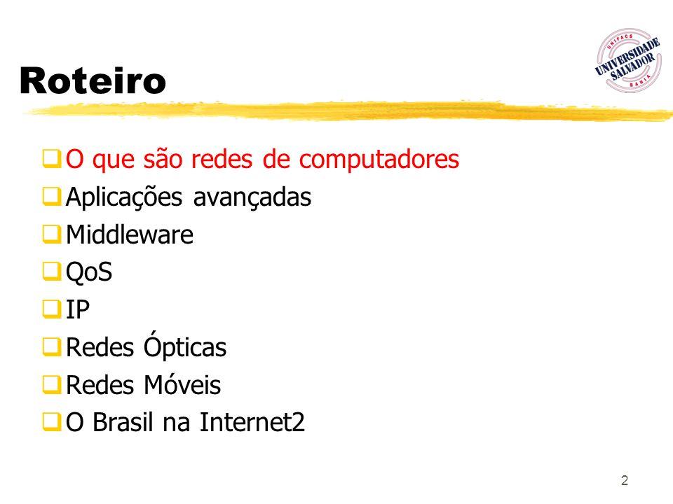 2 Roteiro O que são redes de computadores Aplicações avançadas Middleware QoS IP Redes Ópticas Redes Móveis O Brasil na Internet2