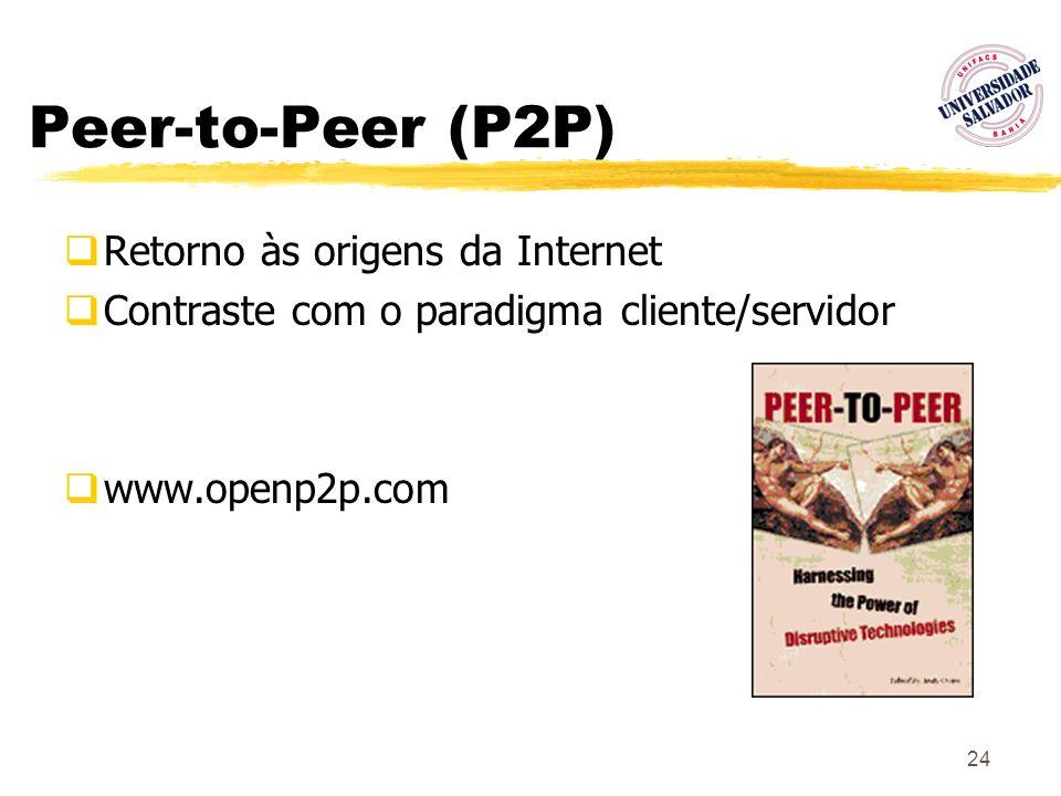 24 Peer-to-Peer (P2P) Retorno às origens da Internet Contraste com o paradigma cliente/servidor www.openp2p.com