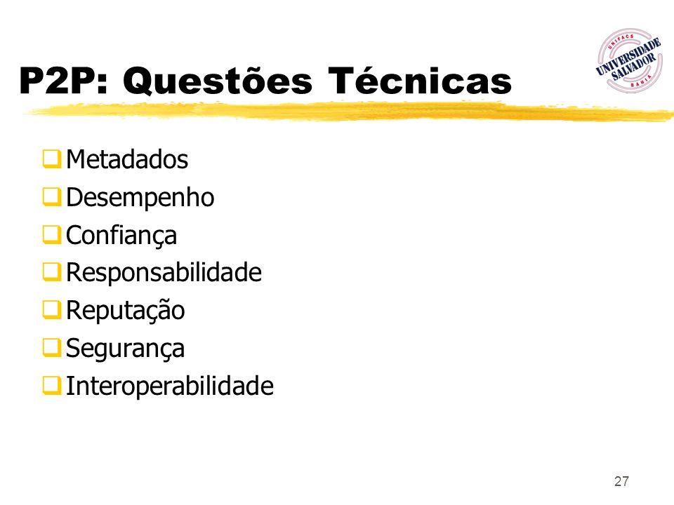 27 P2P: Questões Técnicas Metadados Desempenho Confiança Responsabilidade Reputação Segurança Interoperabilidade