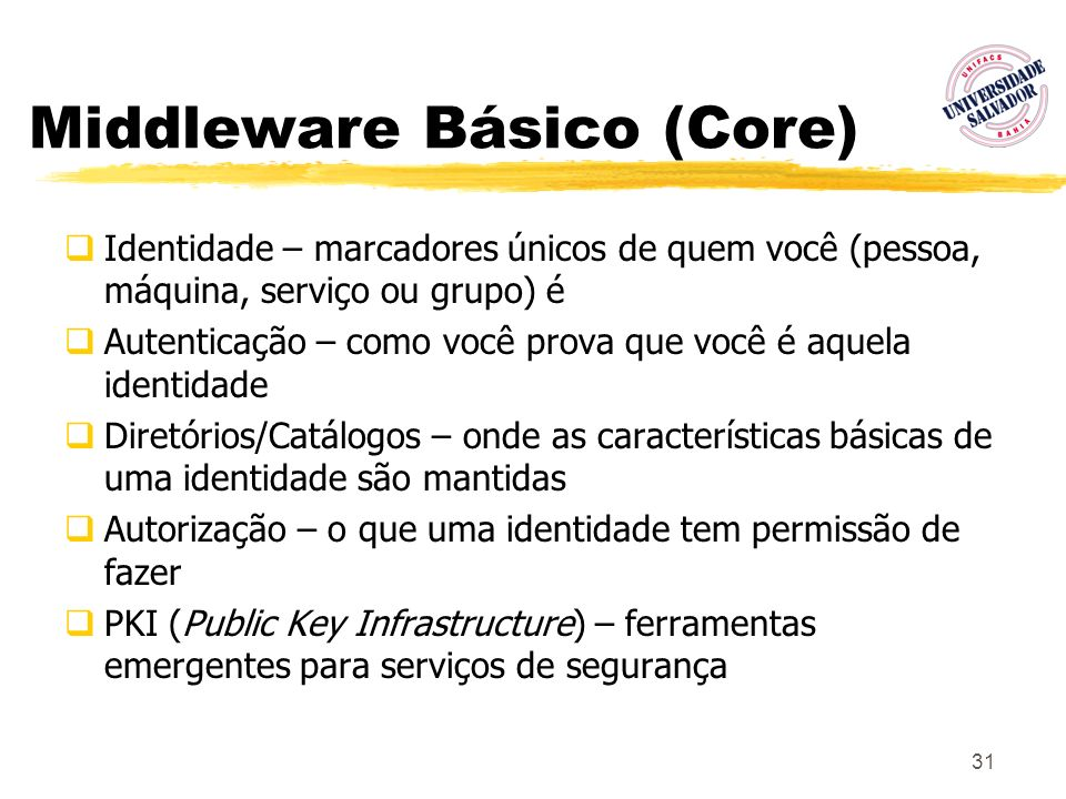 31 Middleware Básico (Core) Identidade – marcadores únicos de quem você (pessoa, máquina, serviço ou grupo) é Autenticação – como você prova que você
