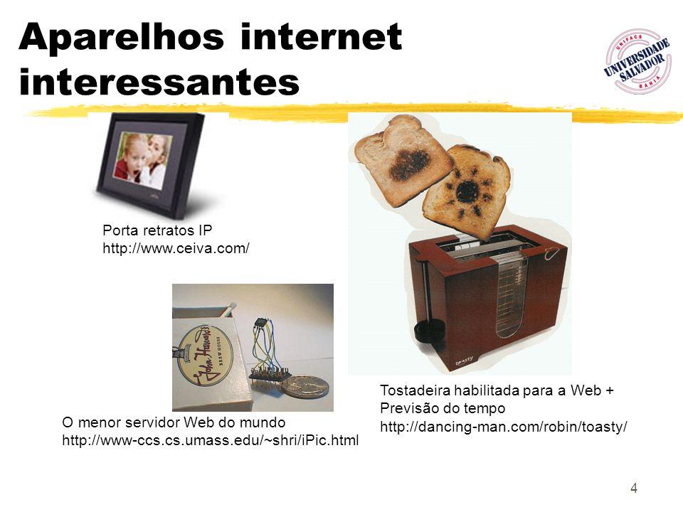 4 Aparelhos internet interessantes O menor servidor Web do mundo http://www-ccs.cs.umass.edu/~shri/iPic.html Porta retratos IP http://www.ceiva.com/ T