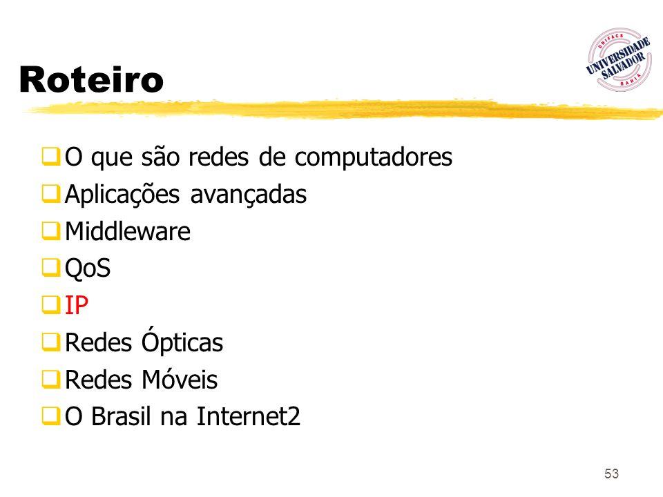53 Roteiro O que são redes de computadores Aplicações avançadas Middleware QoS IP Redes Ópticas Redes Móveis O Brasil na Internet2