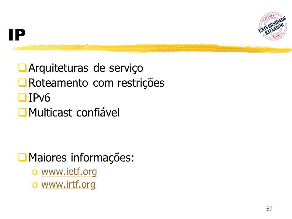 57 IP Arquiteturas de serviço Roteamento com restrições IPv6 Multicast confiável Maiores informações: owww.ietf.orgwww.ietf.org owww.irtf.orgwww.irtf.