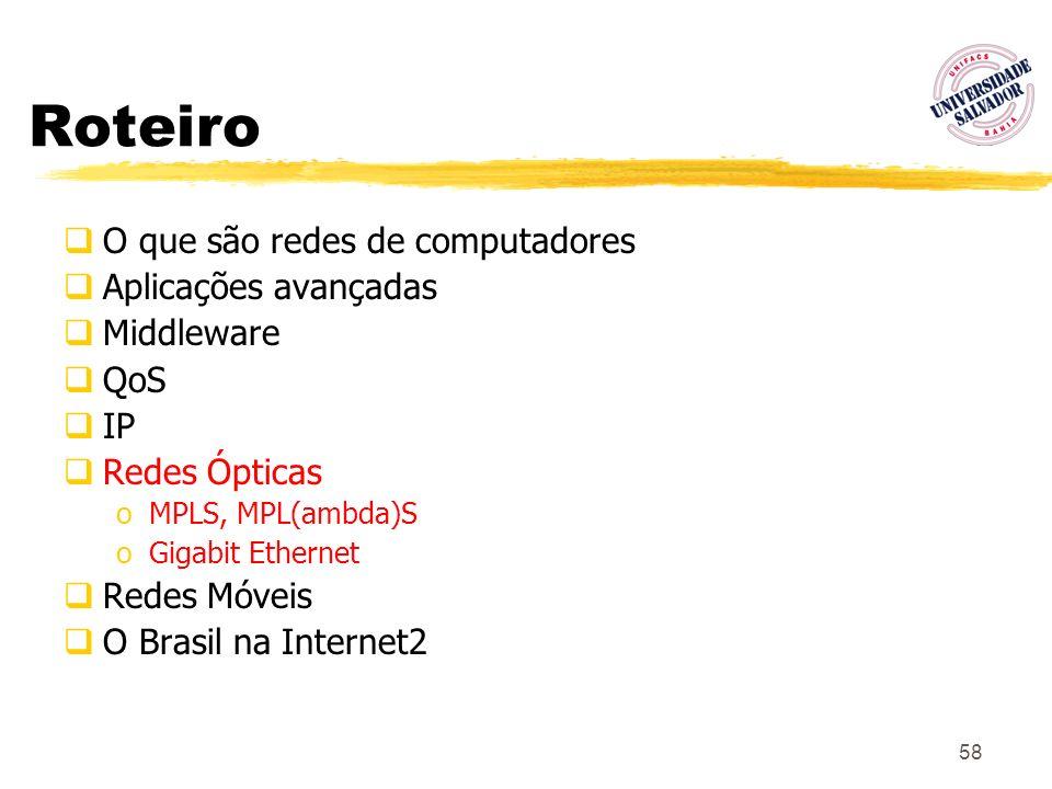 58 Roteiro O que são redes de computadores Aplicações avançadas Middleware QoS IP Redes Ópticas oMPLS, MPL(ambda)S oGigabit Ethernet Redes Móveis O Br