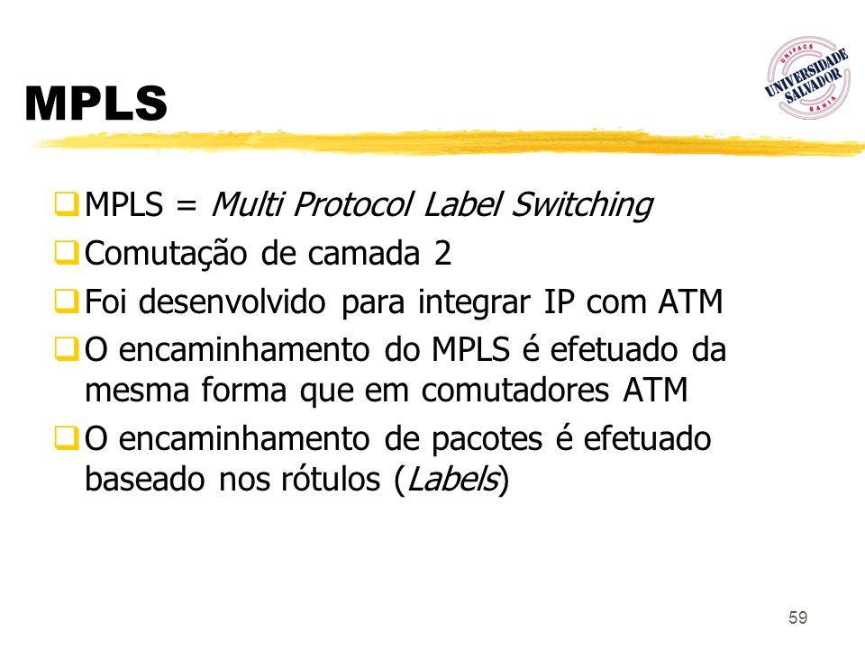 59 MPLS MPLS = Multi Protocol Label Switching Comutação de camada 2 Foi desenvolvido para integrar IP com ATM O encaminhamento do MPLS é efetuado da m
