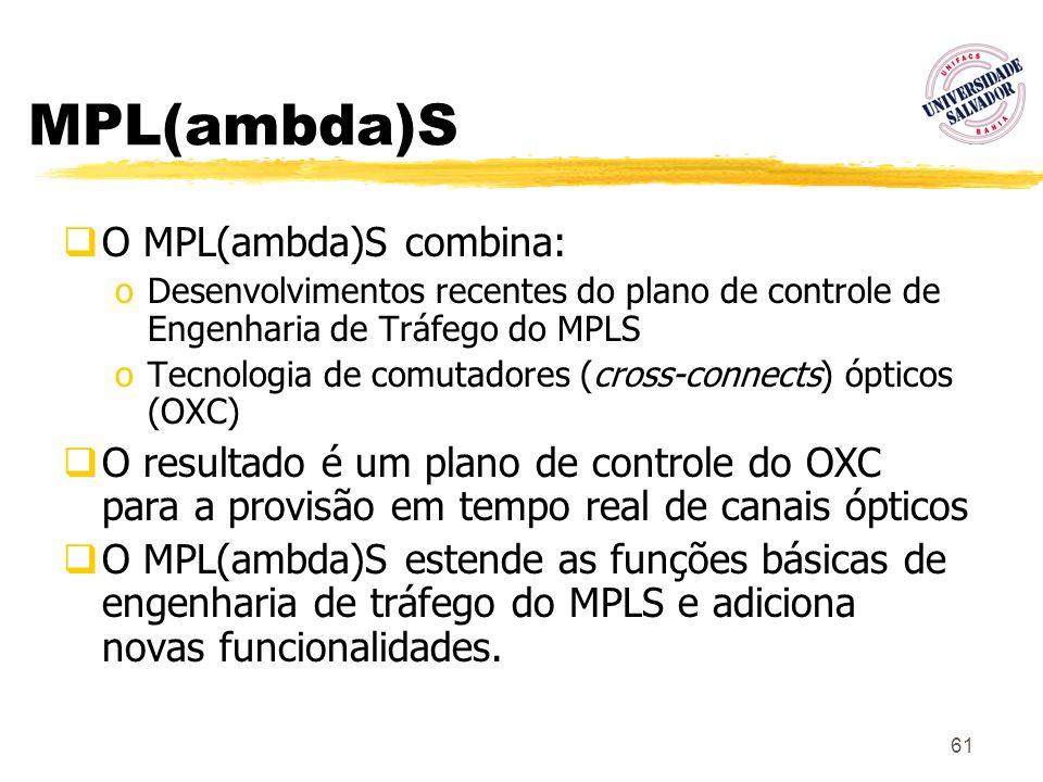 61 MPL(ambda)S O MPL(ambda)S combina: oDesenvolvimentos recentes do plano de controle de Engenharia de Tráfego do MPLS oTecnologia de comutadores (cro
