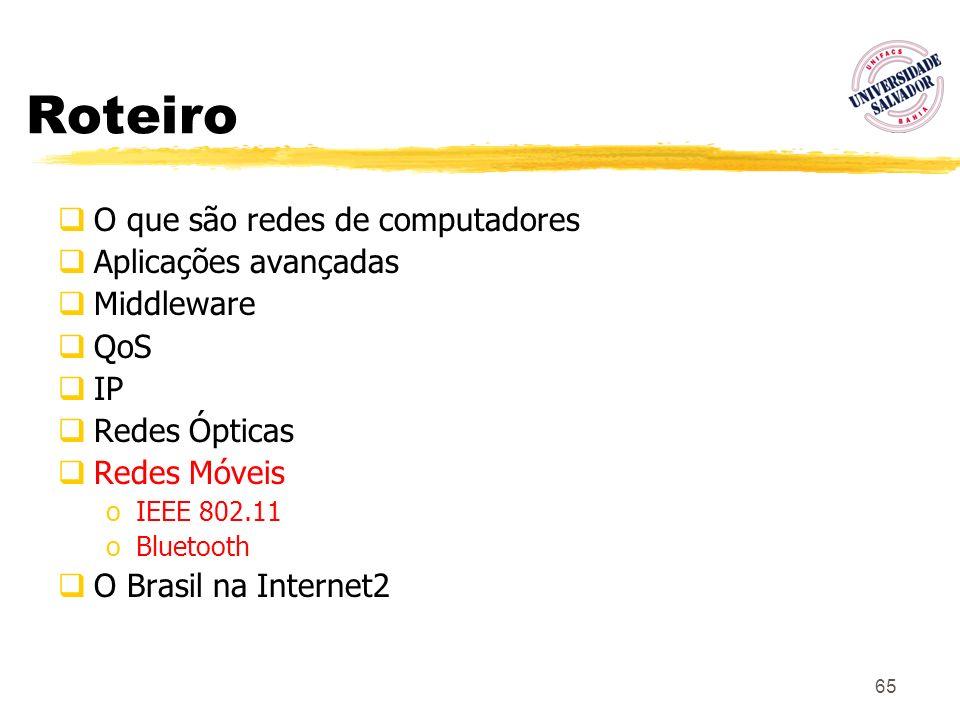 65 Roteiro O que são redes de computadores Aplicações avançadas Middleware QoS IP Redes Ópticas Redes Móveis oIEEE 802.11 oBluetooth O Brasil na Inter