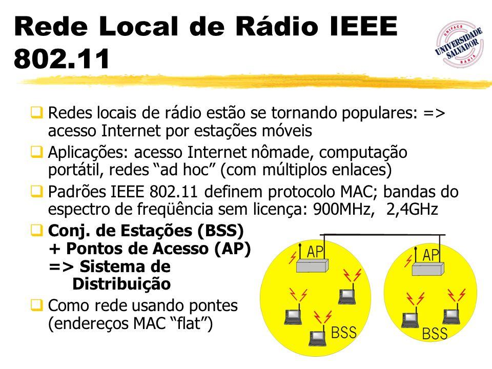 66 Rede Local de Rádio IEEE 802.11 Redes locais de rádio estão se tornando populares: => acesso Internet por estações móveis Aplicações: acesso Intern